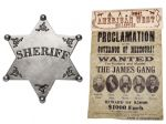 James & Younger Gang Wanted Poster With Sheriffs Badge